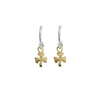 Mini Cupid Hoops With Gold Baby Shamrock Charms