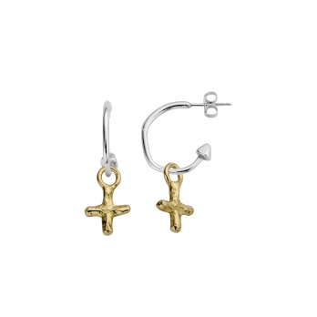 Mini Cupid Hoops With Gold Mini Kiss Charms detailed