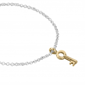 Silver & Gold Mini Dreamer's Key Chain Bracelet  detailed