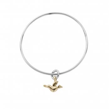 Silver & Gold Mini Turtle Dove Bangle