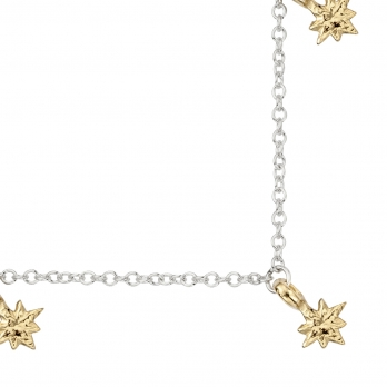 Silver & Gold Three Baby North Star Necklace detailed