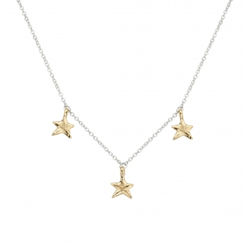 Silver & Gold Three Star Necklace