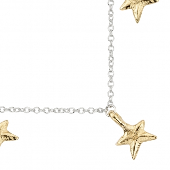 Silver & Gold Three Star Necklace detailed