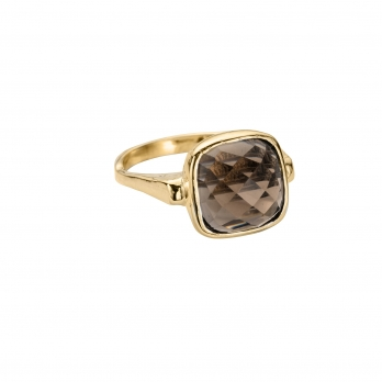 Gold Smokey Quartz Crystal Ring