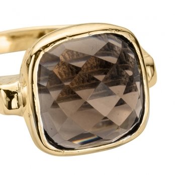 Gold Smokey Quartz Crystal Ring detailed