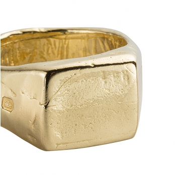 Gold Square Signet Ring detailed