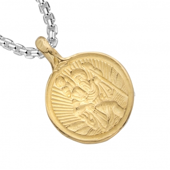 Silver & Gold Medium St Christopher Snake Chain Necklace detailed