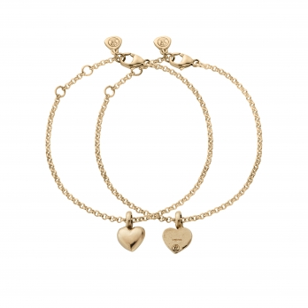 Gold Think of Me Heart Chain Bracelets