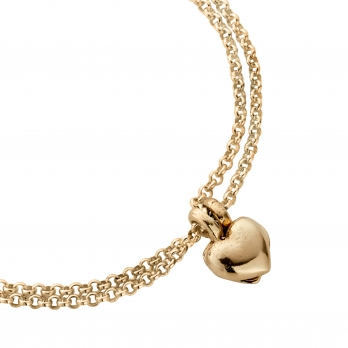 Gold Think of Me Heart Chain Bracelets detailed