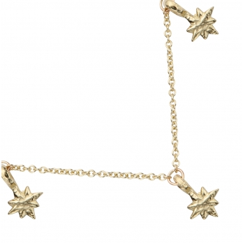 Gold Three Baby North Star Necklace detailed
