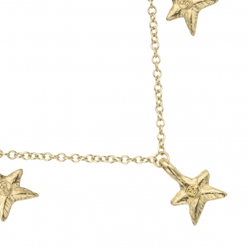 Gold Three Star Necklace detailed