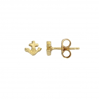 Gold Tiny Anchor Ear Charm Set detailed