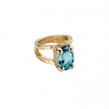 Gold Blue Topaz Maxi Claw Ring