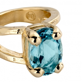 Gold Blue Topaz Maxi Claw Ring detailed