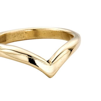 Ladies Gold Wishbone Wedding Band detailed