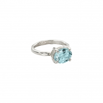 Silver Posh Aquamarine Claw Ring