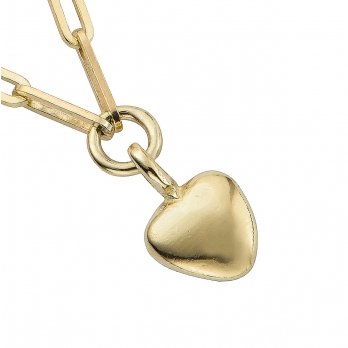 Gold Grateful Heart Trace Chain Necklace detailed