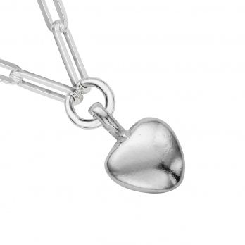 Silver Grateful Heart Trace Chain Necklace detailed