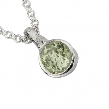 Silver Green Quartz Baby Treasure Necklace detailed
