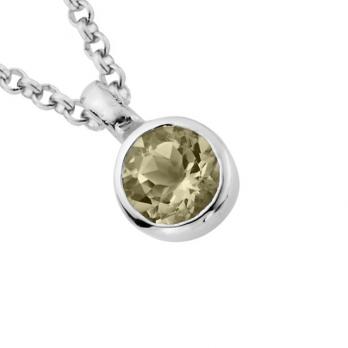 Silver Green Quartz Baby Treasure Necklace detailed
