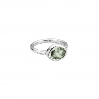 Silver Green Quartz Baby Treasure Ring