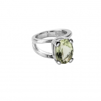 Silver Green Quartz Maxi Claw Ring