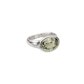 Silver Green Quartz Treasure Ring
