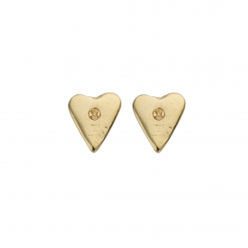 Gold Mini Heart Stud Earrings