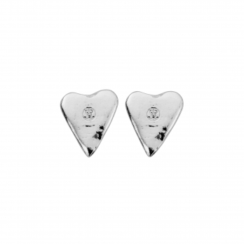 Silver Mini Heart Stud Earrings
