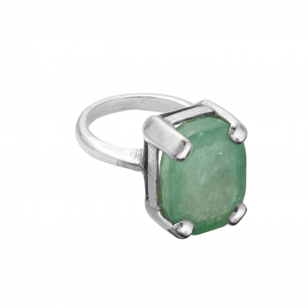 HESTIA Silver Emerald Claw Ring