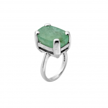 HESTIA Silver Emerald Claw Ring detailed