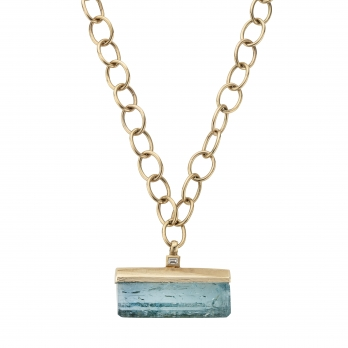 KAILANI Large Gold Aquamarine & Diamond Necklace