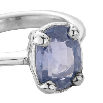 KAI Silver Blue Sapphire Claw Ring detailed