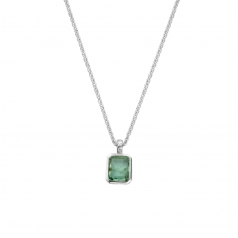 KAMAKOU Silver Emerald Necklace
