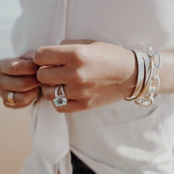 Silver Blue Topaz Maxi Claw Ring detailed