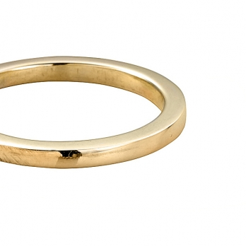 Ladies Gold Square Wedding Band detailed