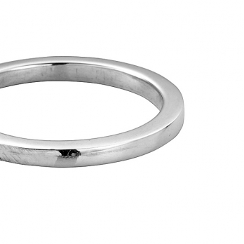 Silver Ladies Square Wedding Band detailed