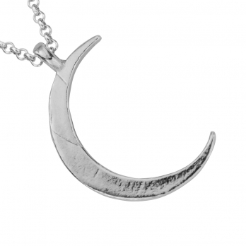 Silver Large Crescent Moon Necklace detailed