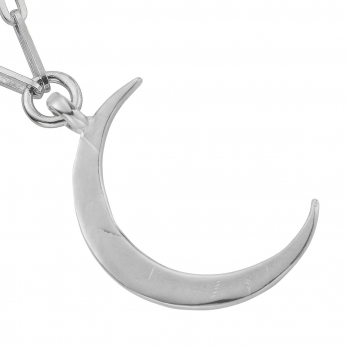 Silver Large Crescent Moon Trace Chain Necklace detailed