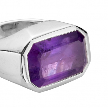 LOLANTHE Silver Amethyst Ring detailed