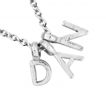 Silver Alphabet Charm Necklace detailed