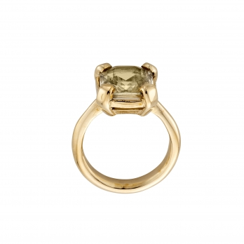 LUANA Gold Yellow Sapphire Claw Ring detailed
