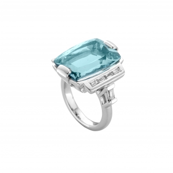 NILAK White Gold Aquamarine & Diamond Ring detailed