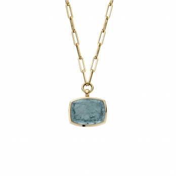 MARVALI Gold Aquamarine Necklace