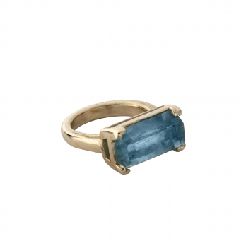MAUI Gold Aquamarine Claw Ring