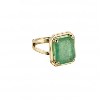 MAUNA LOA Large Gold Emerald Ring