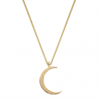 Gold Large Crescent Moon Necklace