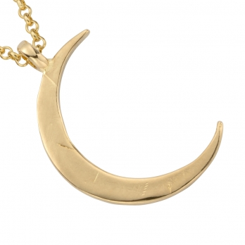 Gold Large Crescent Moon Necklace detailed
