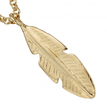 Gold Maxi Feather Necklace detailed