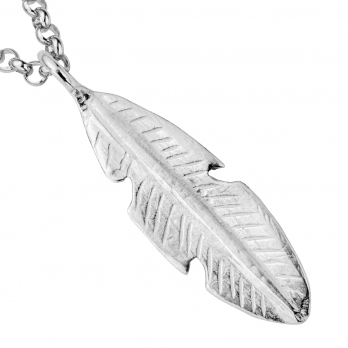 Silver Maxi Feather Necklace detailed